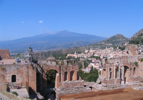 Crossing the Strait of Messina:  Etna -Taormina